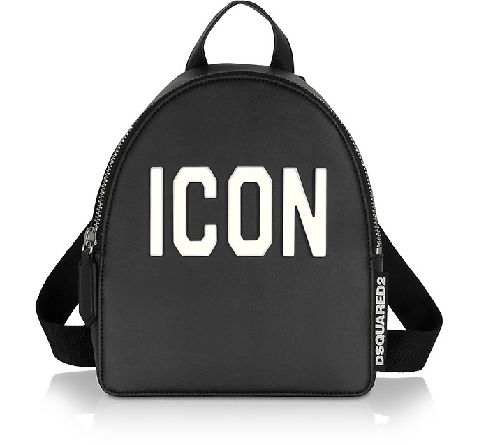 Black Leather and Plexy Icon Women's Backpack - DSquared2
