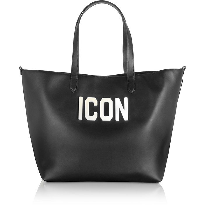 Black Leather and Plexy Icon Tote Bag - DSquared2
