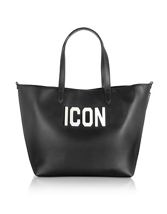 8484519378e273 Black Leather and Plexy Icon Tote Bag - DSquared2