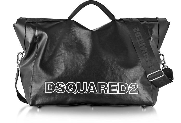 67a0300e5394 DSquared2 Oversized Black Leather Duffle Bag at FORZIERI