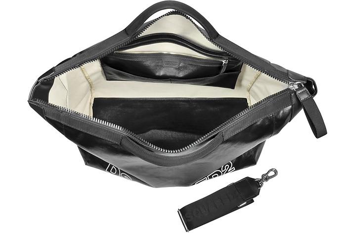 c68398192fdf Oversized Black Leather Duffle Bag - DSquared2.  418.00  1