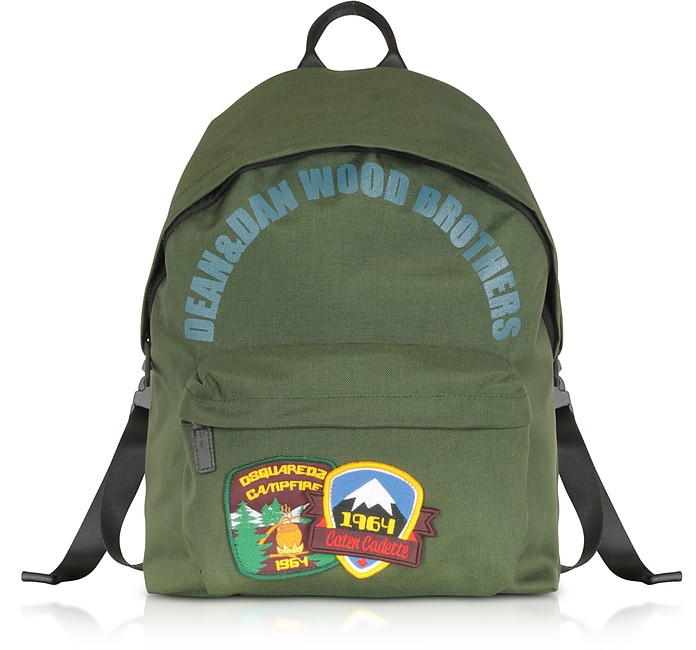 Military Green Nylon Medium Backpack w/Patches - DSquared2
