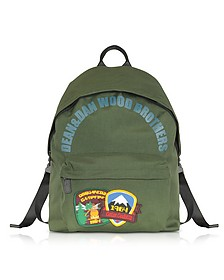Military Green Nylon Medium Backpack w/Patches - DSquared