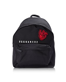 Black Nylon Medium Backpack w/Heart Beat Patch - DSquared2
