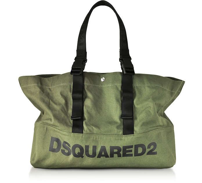 Military Green Canvas Shopping Bag w/Funny Handles - DSquared2