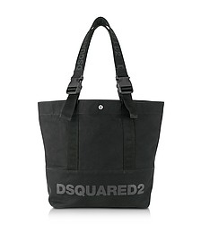 Black Canvas Vertical Shopping Bag w/Funny Handles - DSquared2