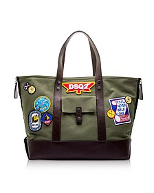 Military Green Canvas Tote w/Patches - DSquared2