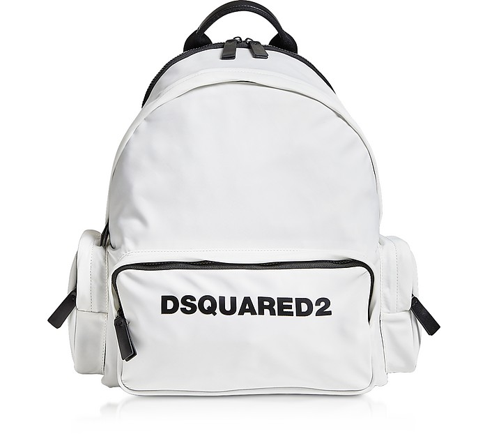 Signature White Nylon Backpack - DSquared2