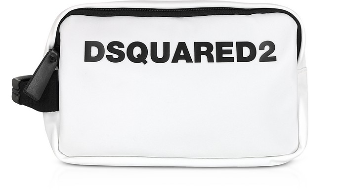 Signature White Nylon Wash Bag - DSquared2