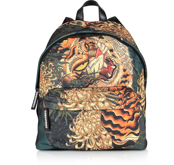 Men's Multicolor Tiger & Flowers Printed Nylon Backpack - DSquared2