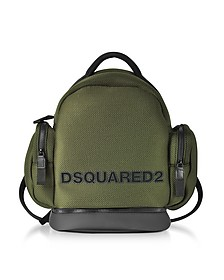 Khaki Mesh Fabric Signature Men's Backpack w/Black Accents - DSquared2