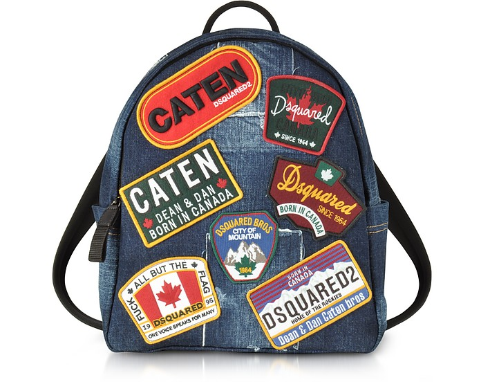 Denim Destroyed Men's Backpack w/Patches - DSquared2