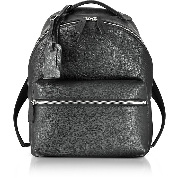 Black Leather Men's Backpack - DSquared2