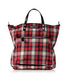 Red Wool Blend Check Hiro Men's Tote Bag - DSquared2