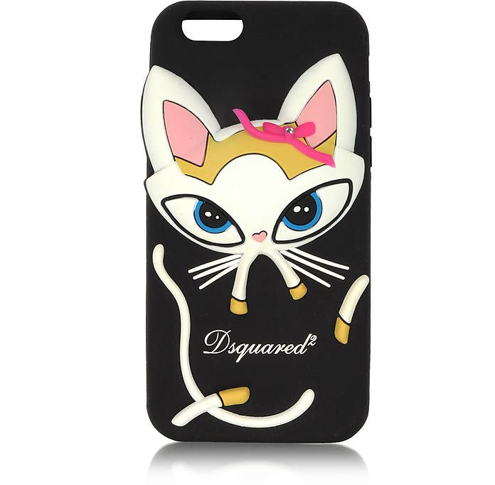 Cover per iPhone 6 in Silicone Nero con Gatto