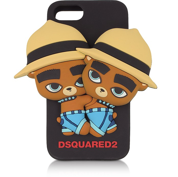 Housse de Protection D2 Oursons pour iPhone 7 en Silicone Noir - DSquared2