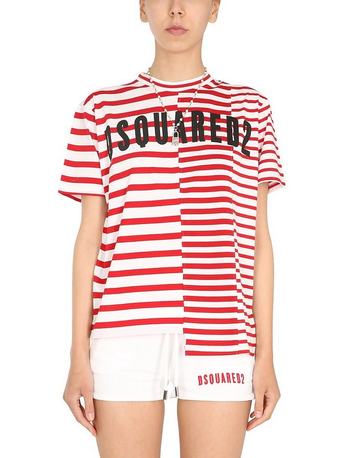 Asymmetric T-Shirt With Stripe Pattern - DSquared