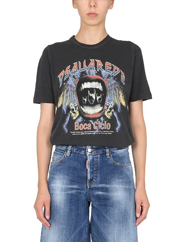 Printed Renny Fit T-Shirt With - DSquared