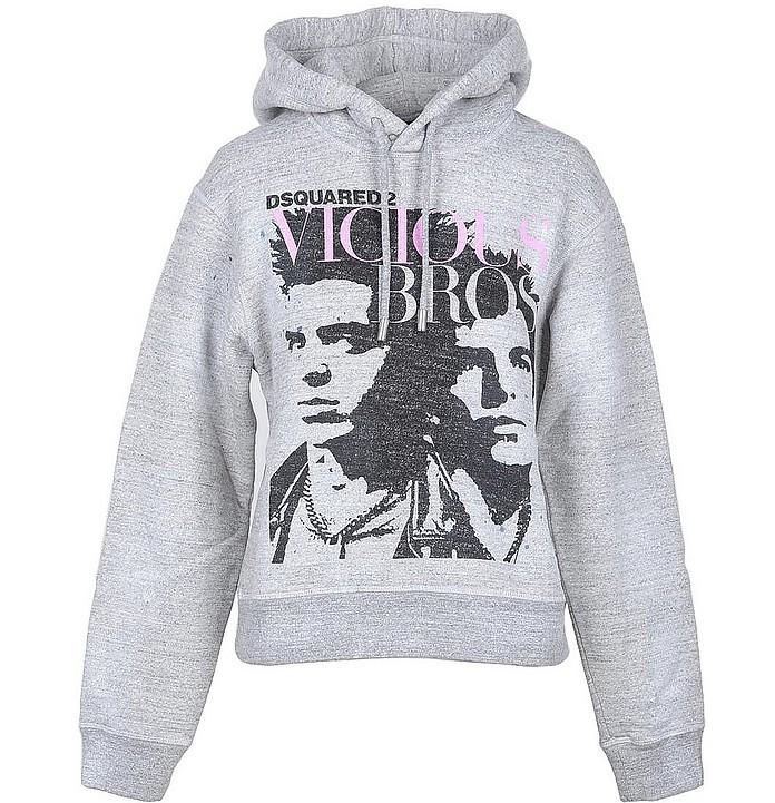 Melange Gray Cotton Women's Hooded Sweater - DSquared