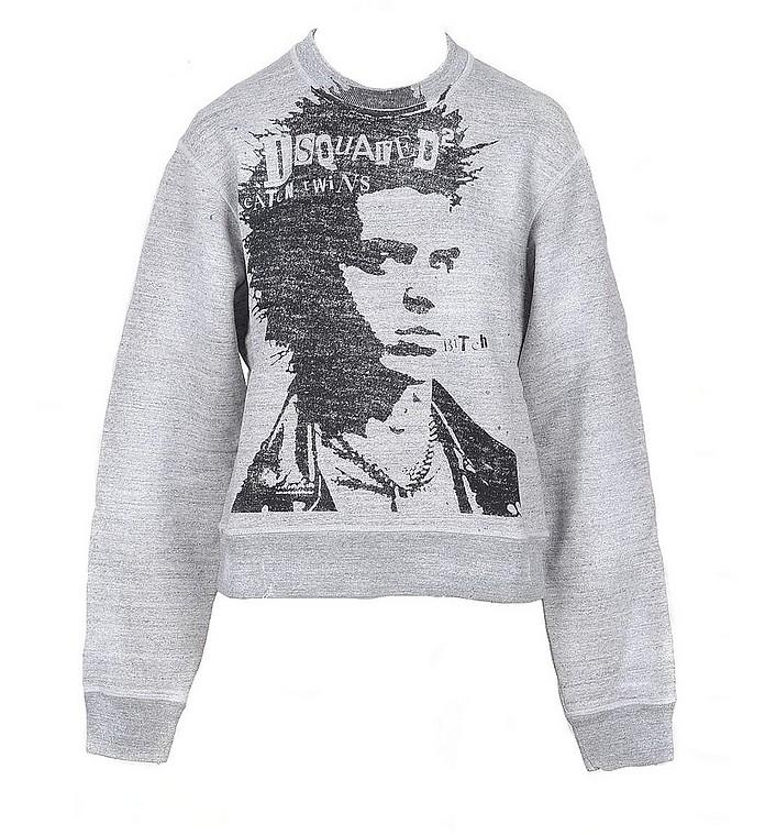 Melange Gray Cotton Women's Sweater - DSquared D二次方