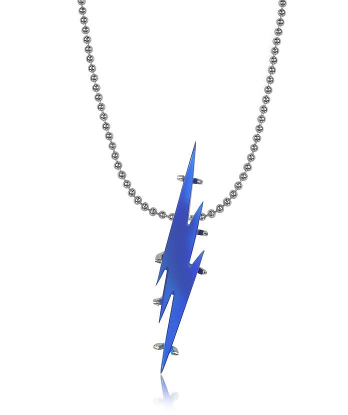 Pendentif Argent Éclair Bleu Métal Avec En Collier Homme lFKc3JT1