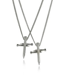 Crossing Nail Palladium Plated Metal Double Chain Necklace w/Strass - DSquared2