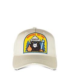 Bear Patch Beige Cotton Baseball Cap  - DSquared2