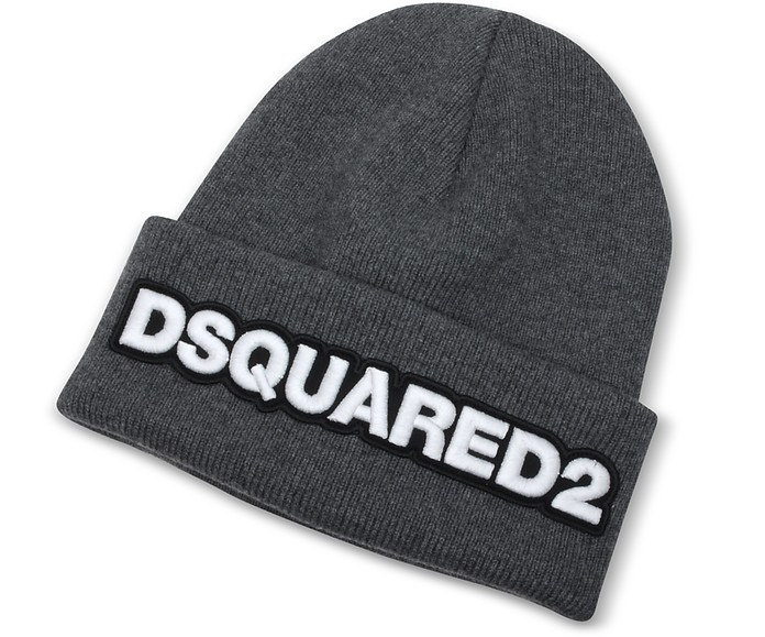 1fc58a67ea8 DSquared2 Embroidered Logo Anthracite Wool Beanie at FORZIERI Canada
