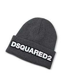 Embroidered Logo Anthracite Wool Beanie - DSquared2