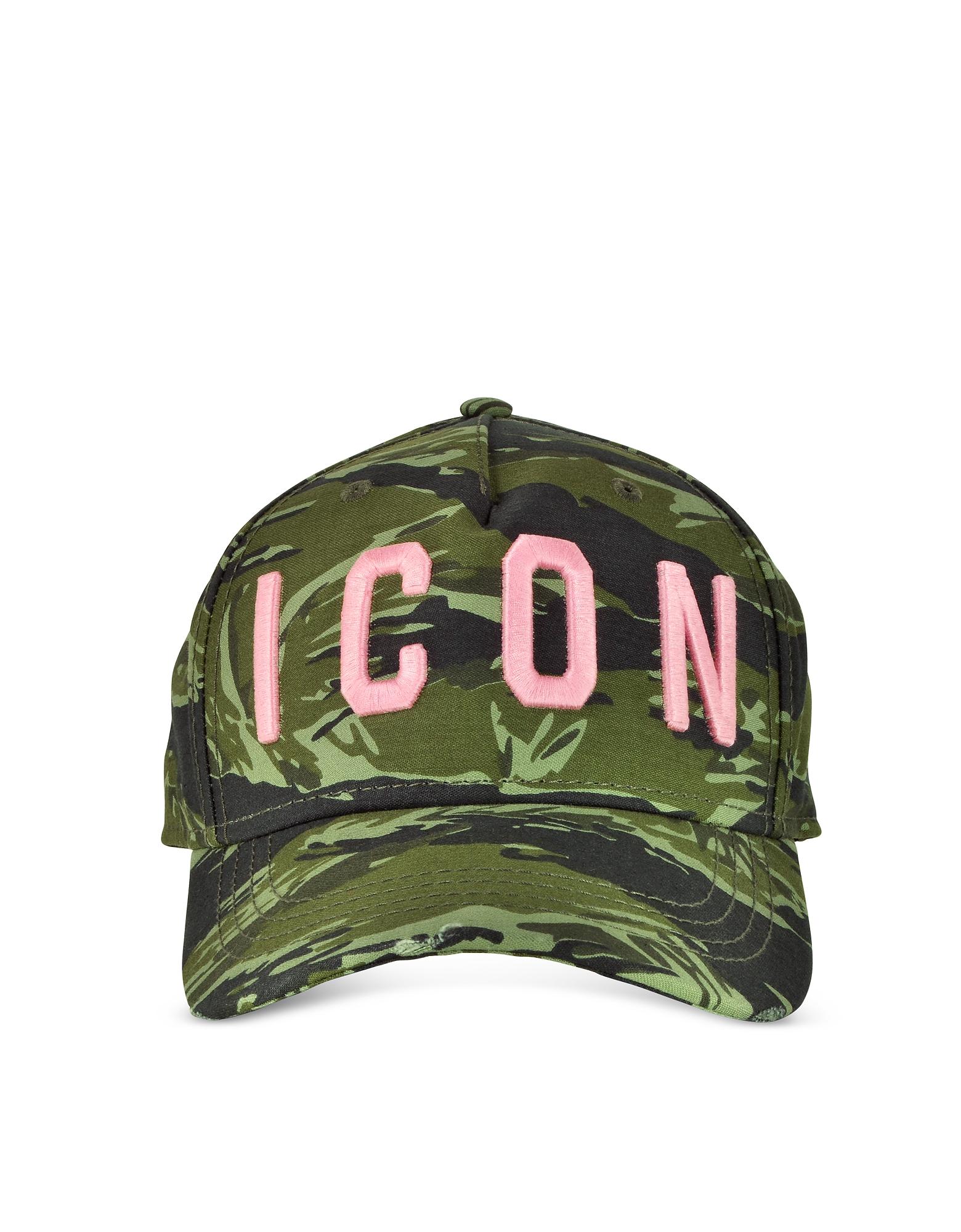 Dsquared2 EMBROIDERED ICON LOGO CAMOUFLAGE GABARDINE BASEBALL CAP