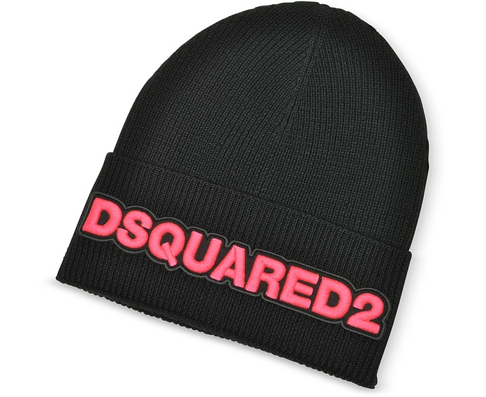 Embroidered Logo Black and Neon Pink Wool Beanie - DSquared2 / ディースクエアード2