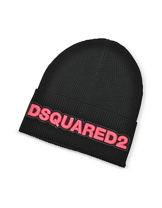 3c0a0973d158cf Embroidered Logo Black and Neon Pink Wool Beanie - DSquared2