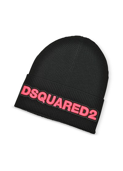 Embroidered Logo Black and Neon Pink Wool Beanie - DSquared2