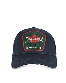 Navy Blue Gabardine Signature Baseball Cap - DSquared