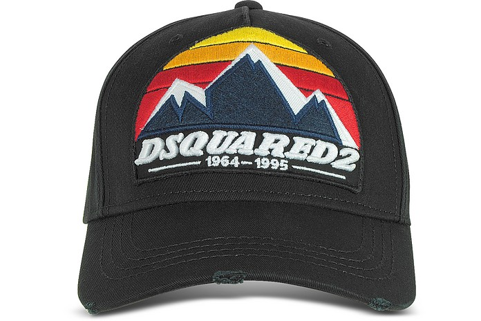 c5365ef6a5f DSquared2 D2 Mountain Black Gabardine Baseball Cap at FORZIERI Canada