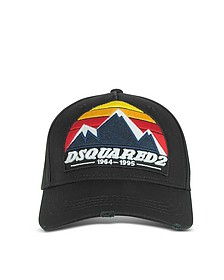 D2 Mountain Black Gabardine Baseball Cap - DSquared