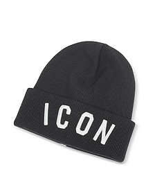 Icon Patch Black Wool Knit Hat  - DSquared