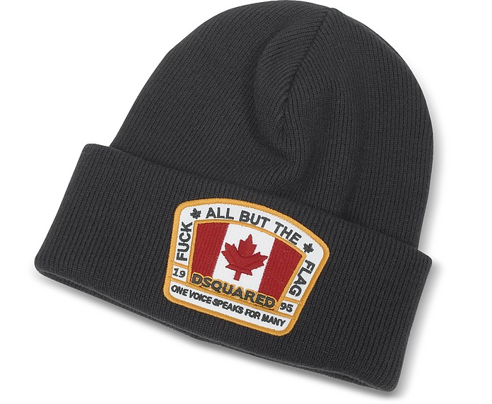 DSquared2 Flag Patch Black Wool Knit Hat at FORZIERI fd28337ec91