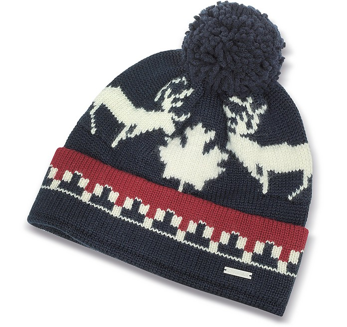 f53d2cac663 Nordic Deers Navy Blue and Burgundy Wool Blend Knit Hat w Pom Pom -  DSquared2