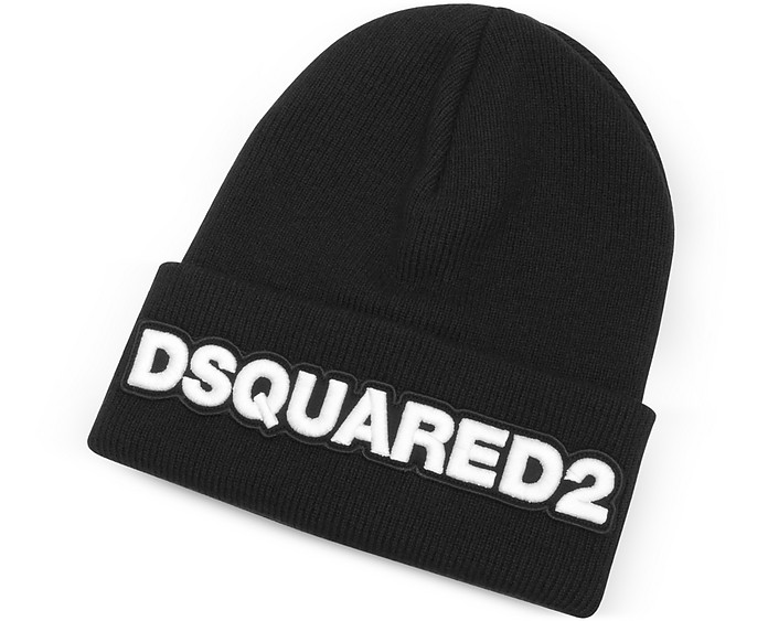 92af45a8eb7 DSquared2 Embroidered Logo Black Wool Beanie at FORZIERI