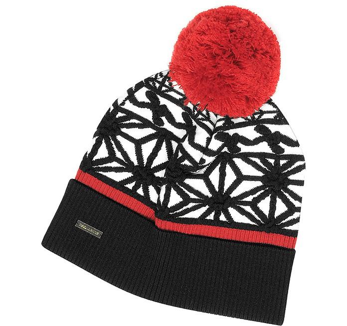 DSquared2 Black   White Knit Hat w Red Pom Pom at FORZIERI 3b1cd0b2c44