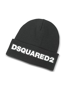 Signature Patch Black Wool Knit Hat  - DSquared