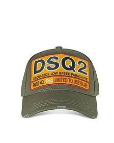 Military Green Cotton DSQ2 Patch Baseball Hat - DSquared
