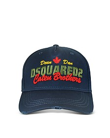 Navy Blue Embroidered Cotton Baseball Cap - DSquared