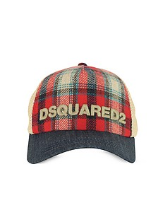 Red Checked Wool Blend and Denim Baseball Cap - DSquared2