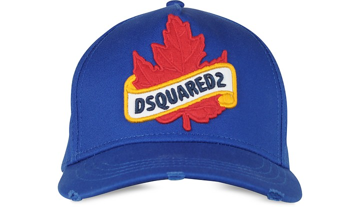 Royal Blue Gabardine Cotton Patch Cargo Baseball Cap - DSquared2