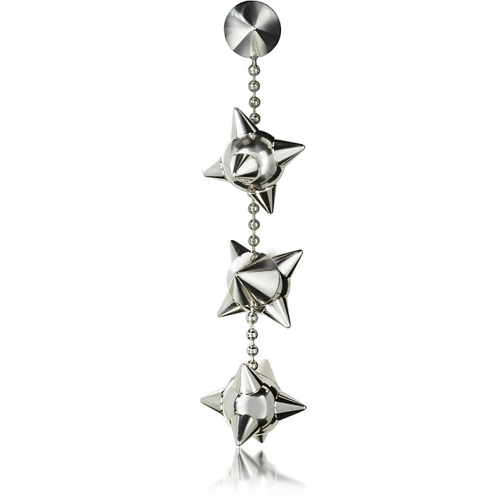 Pierce Me Palladium Plated Metal Spiked Single Long Earring - DSquared2