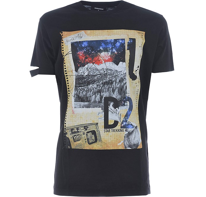 Black Cotton Signature Print Men's T-Shirt - DSquared