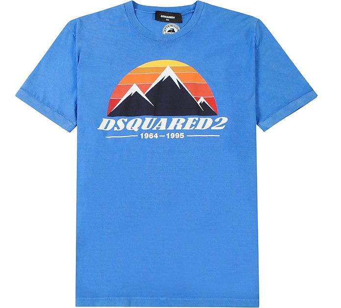 Blue Cotton Signature Print Men's T-Shirt - DSquared2