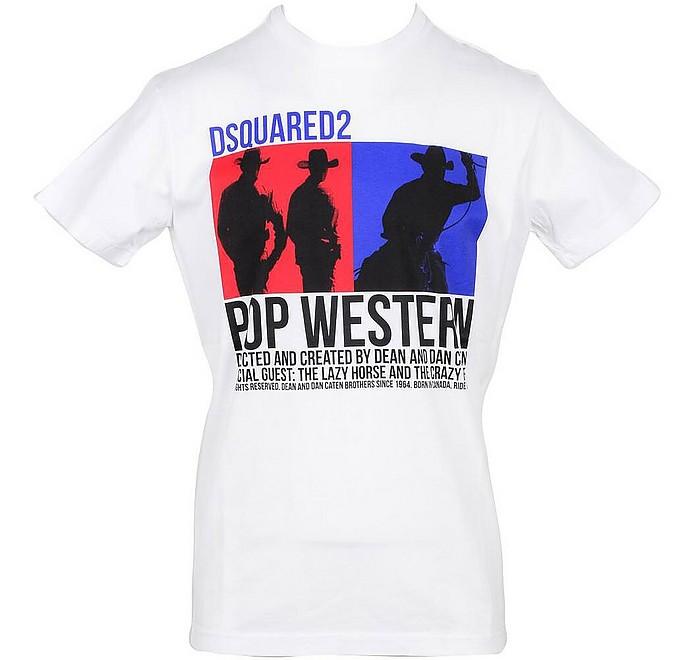 White Cotton Signature Print Men's T-Shirt - DSquared2
